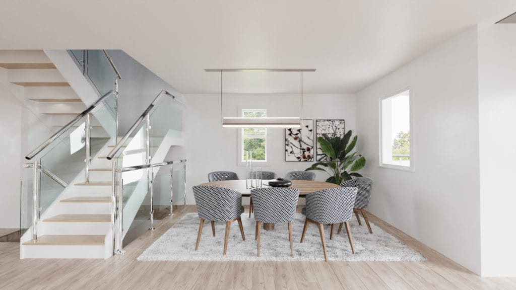 Dining room, open concept home