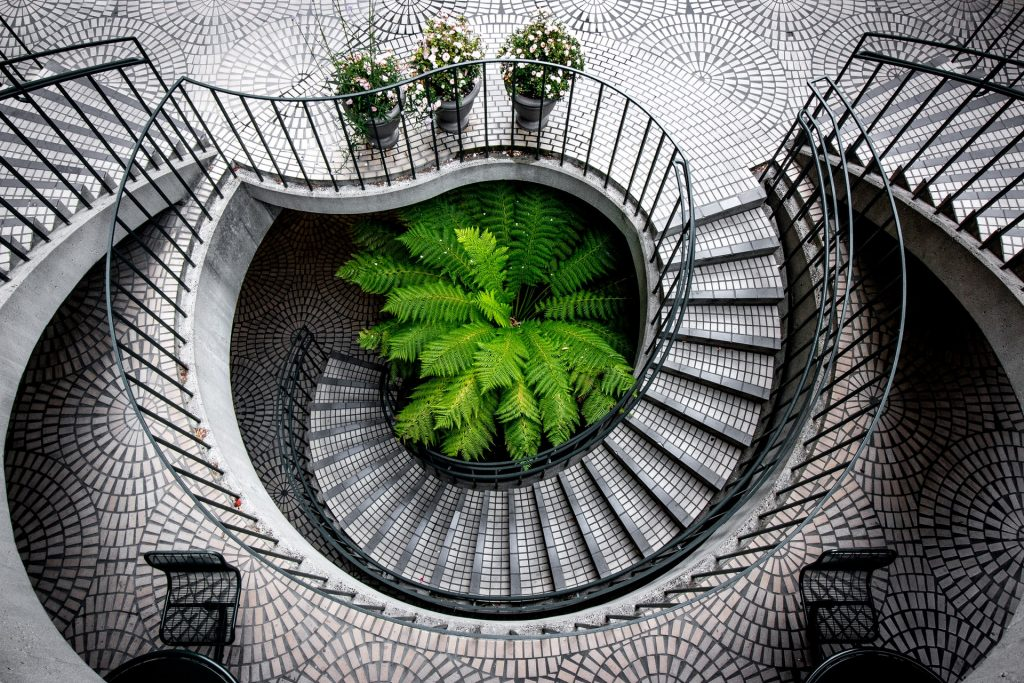 Mosaic Curved Stairs Design