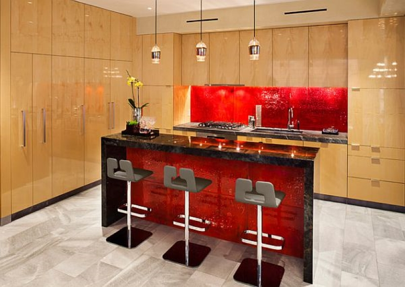 Valentine's Day Home Remodeling - Red Backsplash