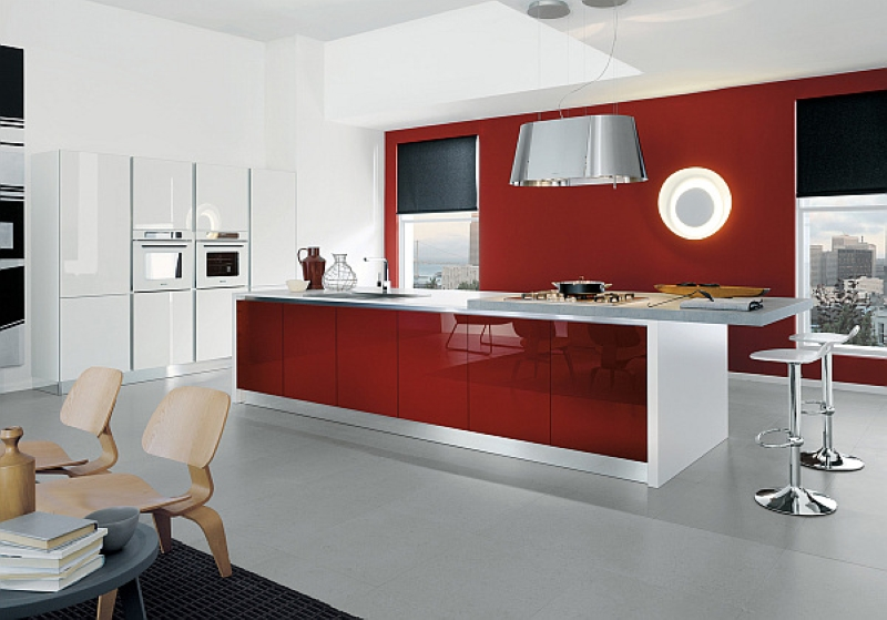 Valentine's Day Home Remodeling -kitchen with red counter